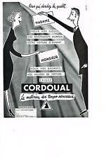 PUBLICITE ADVERTISING  1953 CORDOUAL  housses de voiture