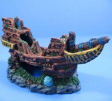 """Wooden Boat Ancient Ship 8.1""""x3.3""""x4.1"""" Aquarium Ornament Decor Resin Shipwreck"""
