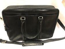 "Levenger Black Leather Briefcase 17""x12"""