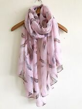 LADIES PRETTY PINK GREY FEATHER PRINT SCARF WRAP