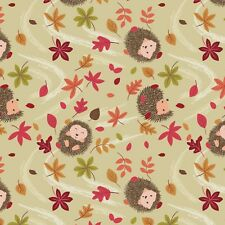 Fabric Hedgehogs in Autumn Leaves on Tan Cotton by the 1/4 yard