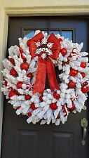 """ Let It Snow "" Holiday Snowman Christmas Wreath Decoration XL Christmas Wreath"
