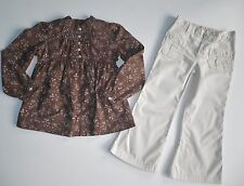 BABY GAP BROWN FLORAL SHIRT TOP KHAKI PANTS  OUTFIT (B35) SZ 5
