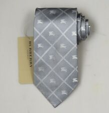 "NEW Burberry GRAY Check Mans 100% Silk Tie Authentic Italy Made 3.5"" 035064"