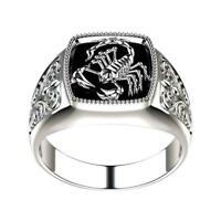 Herren Legierung Carving Scorpion Ring Kristall Punk Jubiläumsringe Biker
