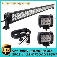 "52"" 300W LED COMBO LIGHT BAR JEEP FOG LAMP CAR+2X18W FLOOD+WIRING KIT for 300W"