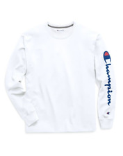 Authentic Champion Men Jersey Sleeve Script Logo Long Sleeves T-shirt With