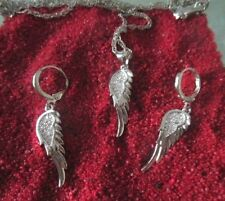 925 Silber- Schmuck Set- Engel Flügel mit Zirkon- Kette- Ohrringe-Creolen Strass