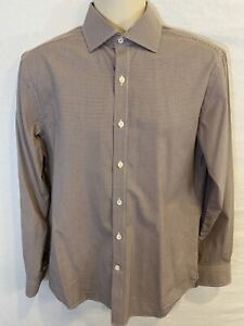 Todd Snyder New York Mens 15.5 32/33 2 Ply Button Long Sleeve Brown Plaid Shirt