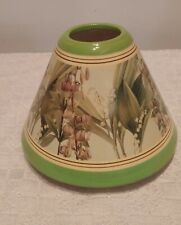 Ceramic Candle Shade Green Leaves Floral