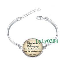 Kindness is the language glass cabochon Tibet silver bangle bracelets Fashion