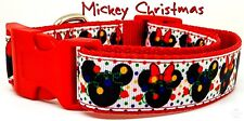 "Mickey Christmas dog collar handmade adjustable buckle 1"" or 5/8"" wide or leash"