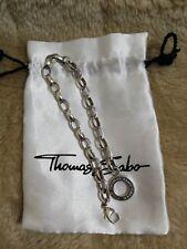 "Thomas Sabo Silver 21.5 cm (8.50"") Large 6mm Link Chain Charm Bracelet RRP £85"