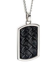 Fred Bennett Stainless Steel Black Leather Pendant & Chain 50cm
