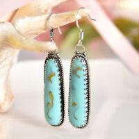 Vintage Silver Plated Turquoise Gemstone Hoop Dangle Hook Earrings Wedding Gifts