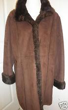 Women's Gallery Faux Suede Fur Lined Winter Parka Coat Rich Look Brown Sz XL