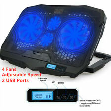 """Ultra Slim 2 USB LCD Fans Gaming Cooling Pad Stand For 12-15.6"""" Notebook Laptop"""