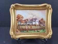 Worcester / Derby Painted Porcelain Plaque & Frame, Shelton Farm House 1831