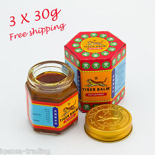 3 x 30g Tiger Red Balm Massage Thai Ointment Relief Insect Bite Muscle Ache Pain