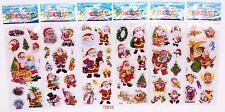 6pcs Kids Favor Figures Gift ! Cartoon Santa Claus Stickers Lot Kids X'Mas Gift