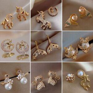 Fashion Korean Fairy Horse Earrings Stud Pearl Gold Cubic Zirconia Crystal Women