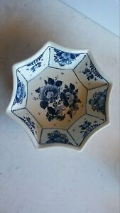 Vintage BLUE & WHITE octagonal bowl or dish, made in Holland, Delfts...# D4.10