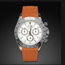 New Rubber B Rolex Watch Strap In Orange Will Fit All 40mm Size
