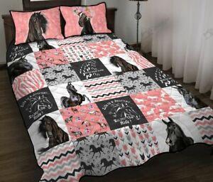 Custom Black Horse Pink Version Quilt Bed Set