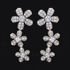 Womens Flower Silver 925 clip on long Stud earrings vintage crystal earings
