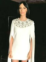 New $4,295.00 Michael Kors Collection Crystal Embellished Cape Dress IT 38 /US 2