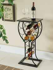 Kings Brand Metal With Marble Finish Wine Storage Organizer Display Rack Table