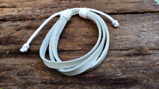 White Leather And  Cotton Mens Womens Bracelet Anklet Wristband