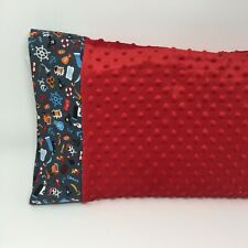 "Nwt Pirate Shark Minky Toddler Pillowcase 12""x16"" Travel Size Nautical Beach Red"
