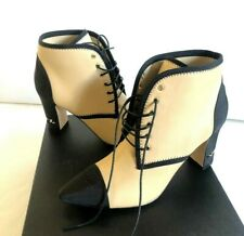 Chanel Beige Black Leather Booties WITH EMBOSSED CC Size 39 $1295