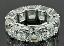 7.00Ct Asscher Cut Diamond Eternity Band Engagement Ring 14K White Gold Finish