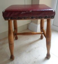 Antique Victorian 4 legged stool, H cross brace, red padded seat