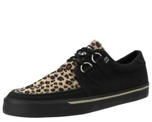 TUK  Creeper Sneaker Black suede canvas  w/leopard print A9181