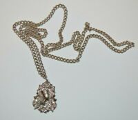 Vintage 1970's silver tone pendant necklace, Egyptian & Victorian Revival.