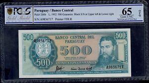 PARAGUAY  500 GUARANIES  L. 1952    PICK # 200b PCGS 65 GEM UNC OPQ.