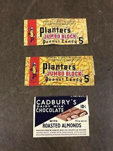 Vintage WRAPPER LOT Planters Jumbo Block Peanut Candy cadbury chocolate almonds