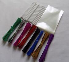 """50 x Cake Pop Kit 4.5"""" WHITE Lolly Sticks 3x5"""" Cello Bags Metallic Twist Ties"""