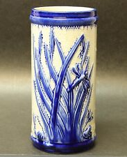 Old Sleepy Eye Stoneware White and Blue Double Cattail Vase Western Monmouth