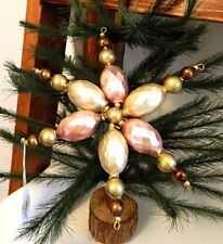 Clip On Pink & Cream Beaded Star Blown Glass Christmas Ornament Czech Republic
