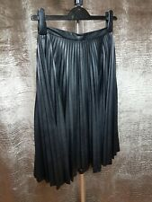 TOPSHOP WOMENS SKIRT BLACK FAUX LEATHER PLEATED SIZE UK8