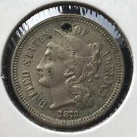 1872 Three Cent Piece Nickel 3c AU Details #11404