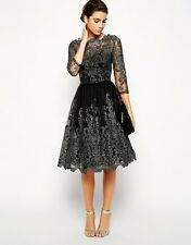 CHI CHI LONDON BLACK LACE DRESS SIZE UK12/EUR40/US8