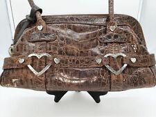 Brighton Brown Croc Patent Leather Handbag Purse with Heart Vintage