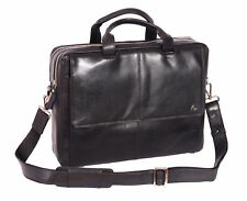 "Genuine Leather Briefcase 15.6"" Laptop Business Executive Shoulder Black Bag NEW"