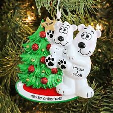 Polar Bear Big Brother with Child Decorating Personalized Christmas Ornament