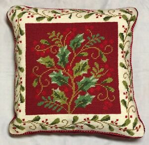 """Colonial Williamsburg Pillow Christmas Holly Wool Velvet Cross Stitch 13""""x13"""""""